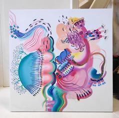 Co-painting with Inka Hannula. Acrylic on canvas, 90 x 90, 2021.