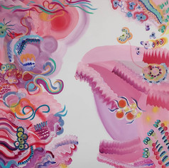 Co-painting with Inka Hannula. Acrylic on canvas, 100 x 100, 2021.