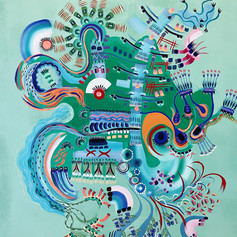 Co-painting with Inka Hannula. Acrylic on canvas, 190x145, 2021.