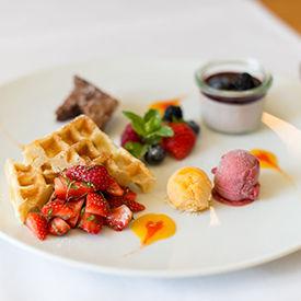 Dessertkarte im Restaurant St.Petersinsel