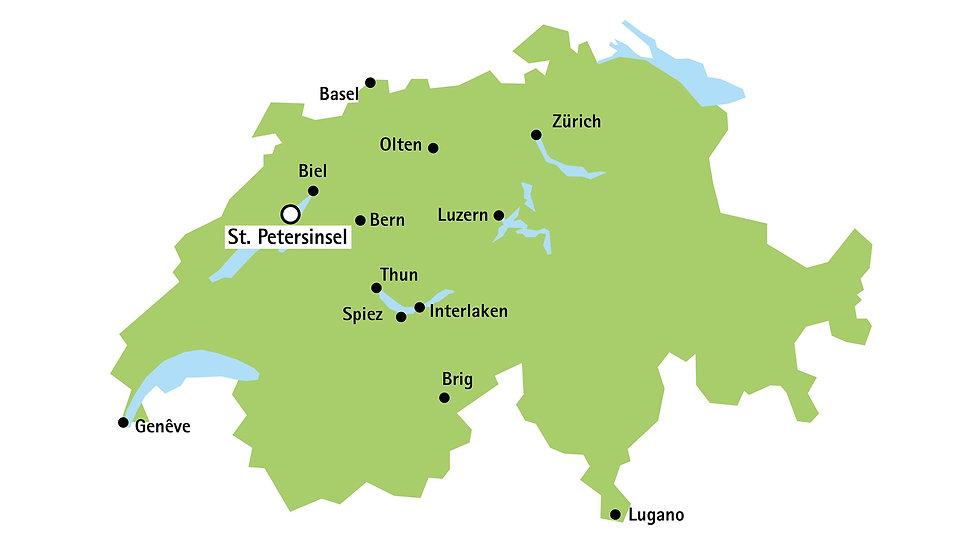 Standort de St.Petersinsel auf einer Schweizerkarte
