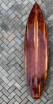 "6'6"" shortboard, Eastern Red Cedar Bottom, Paulownia, Western Red Cedar and Peruvian Walnut."