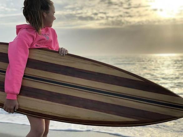 Lauren with a Marvel Short board.  (Clea