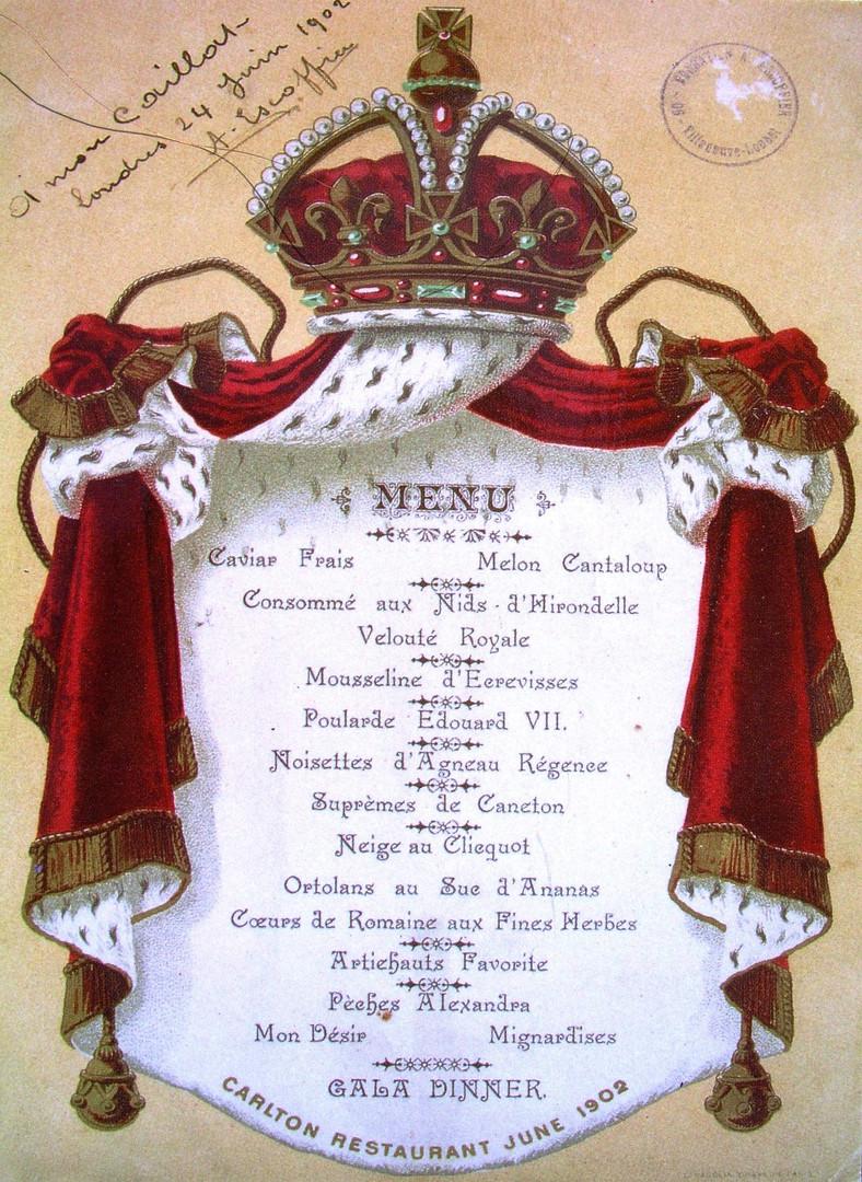 Menu du Couronnement du Roi Edouard VII 1902