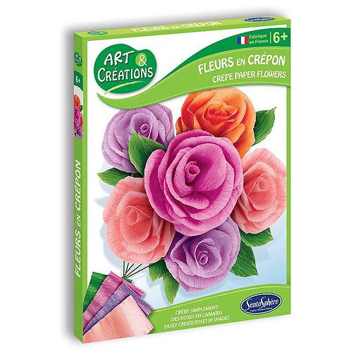 Fleurs en crépon - Roses - Sentosphère Art et créations