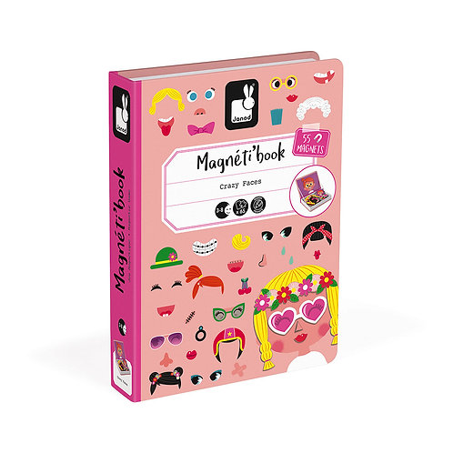 MAGNÉTI'BOOK CRAZY FACES FILLE, 55 MAGNETS - Janod