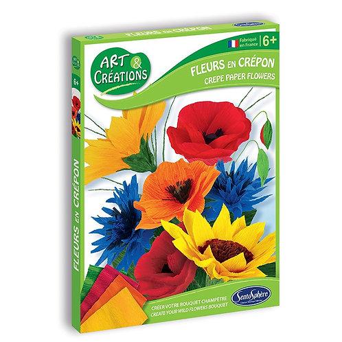 Fleurs en crépon - Bouquet champêtre - Sentosphère Art et créations