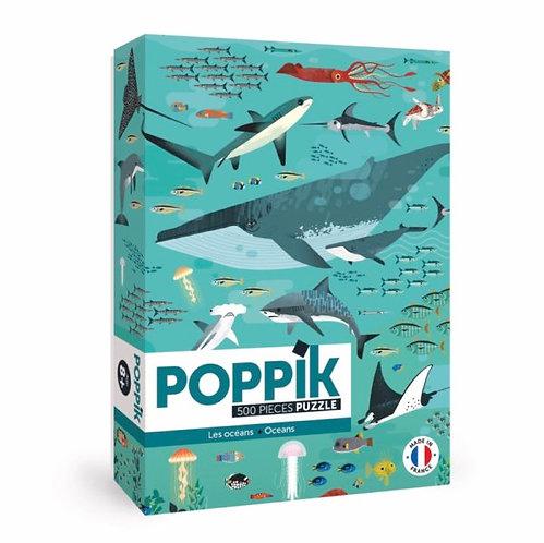 Puzzle Educatif 500 pièces- Les animaux marins - Poppik