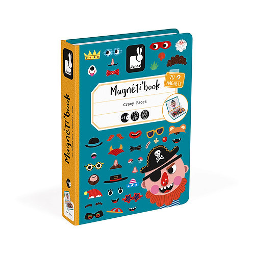 MAGNÉTI'BOOK CRAZY FACES GARÇON, 70 MAGNETS - Janod