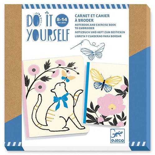 Carnet et cahier à broder DIY - Jardin poétique - Djeco