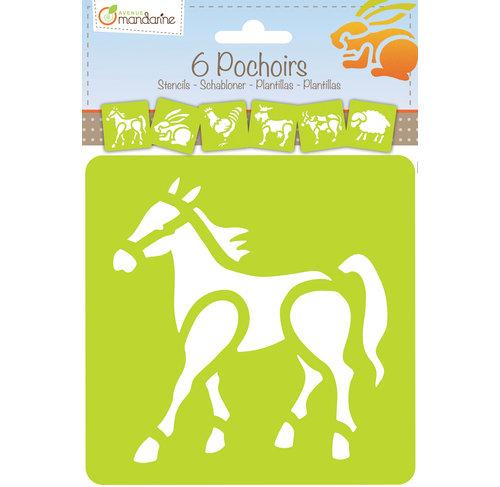 Set de 6 pochoirs - Animaux de la ferme