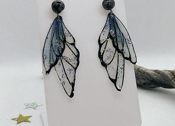 Boucles d'oreilles Fae bleues et perles d'obsidiennes mouchetées