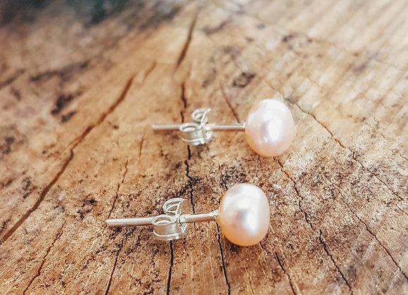 Boucles d'oreilles Naïades en perles de cultures roses