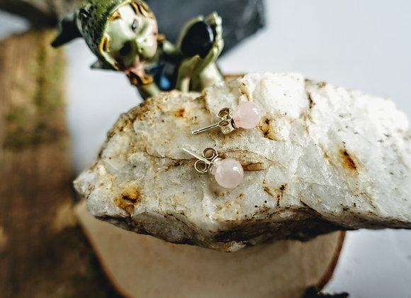 Boucles d'oreilles Dryades en Quartz Rose