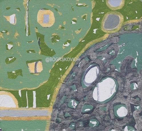 "Garden Explosion 4 / Acrylic - Mixed Media on Canvas / 18"" x 18"" - 46cm x 46cm"