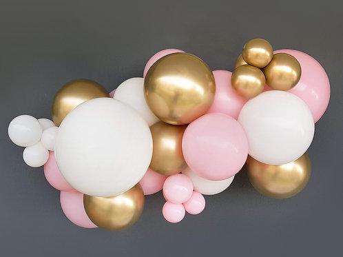 Guirnalda 3m globos: rosa, blanco y oro chrome