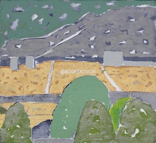 "Garden Explosion 6 / Acrylic - Mixed Media on Canvas / 18"" x 18"" - 46cm x 46cm"
