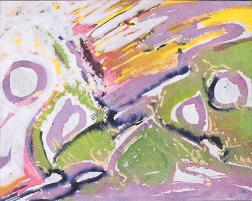 "Fire on the mountain / Acrylic - Mixed Media on Canvas / 16"" x 20"" - 41cm x 51cm"