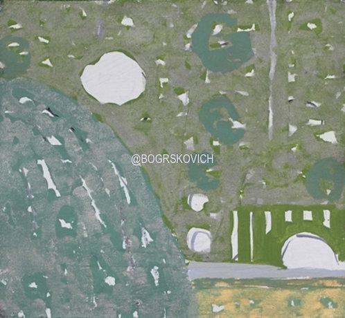 "Garden Explosion 5  / Acrylic - Mixed Media on Canvas / 18"" x 18""-46cm x 46cm"