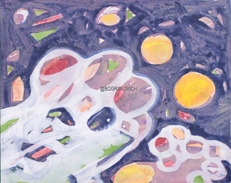 "Bear Encounter /Acrylic - Mixed Media on Canvas / 16"" x 20"" - 41cm x 51cm"