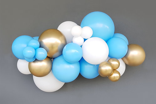 KIT Inflador + globos: azul, blanco y oro chrome