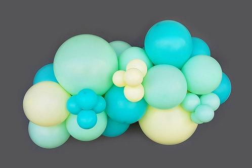 Guirnalda 3m globos: verde pastel, amarillo pastel y aguamarina