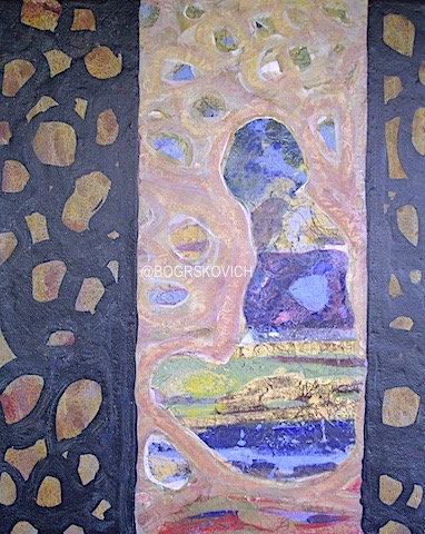 "Waiting / Acrylic-Mixed Media on wood panel, 20""x16""x1.5""-51cm x 41cm x4cm"