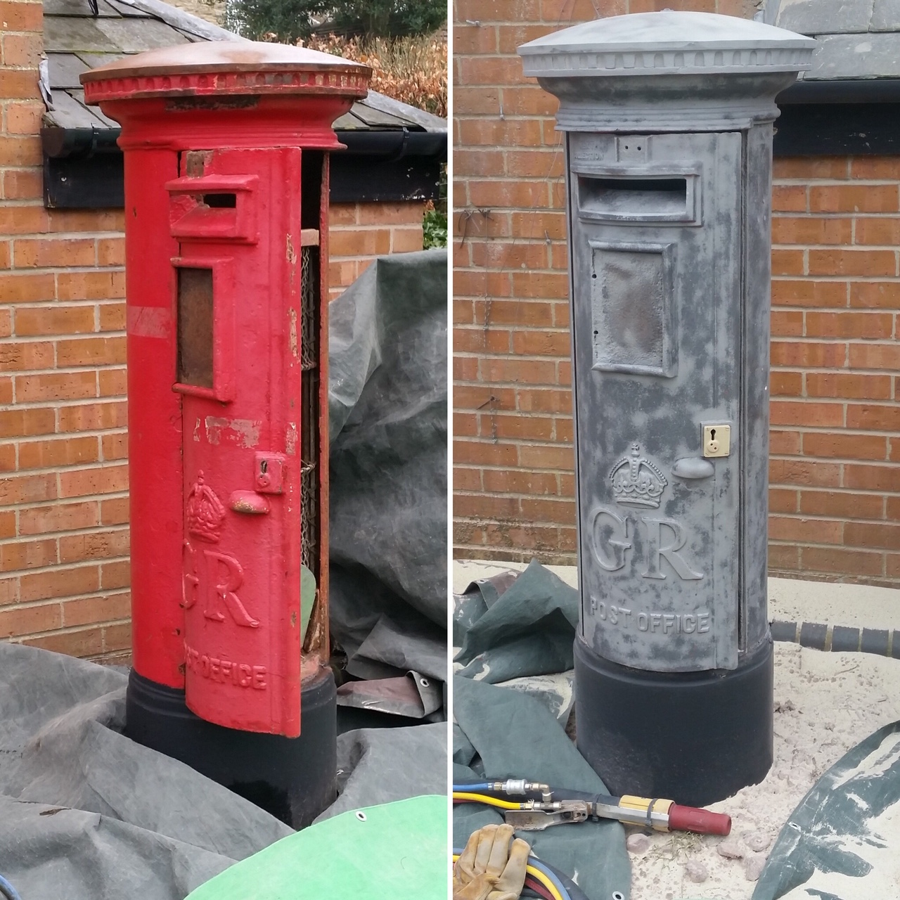 Sandblasting an old Royal Mail letter bo
