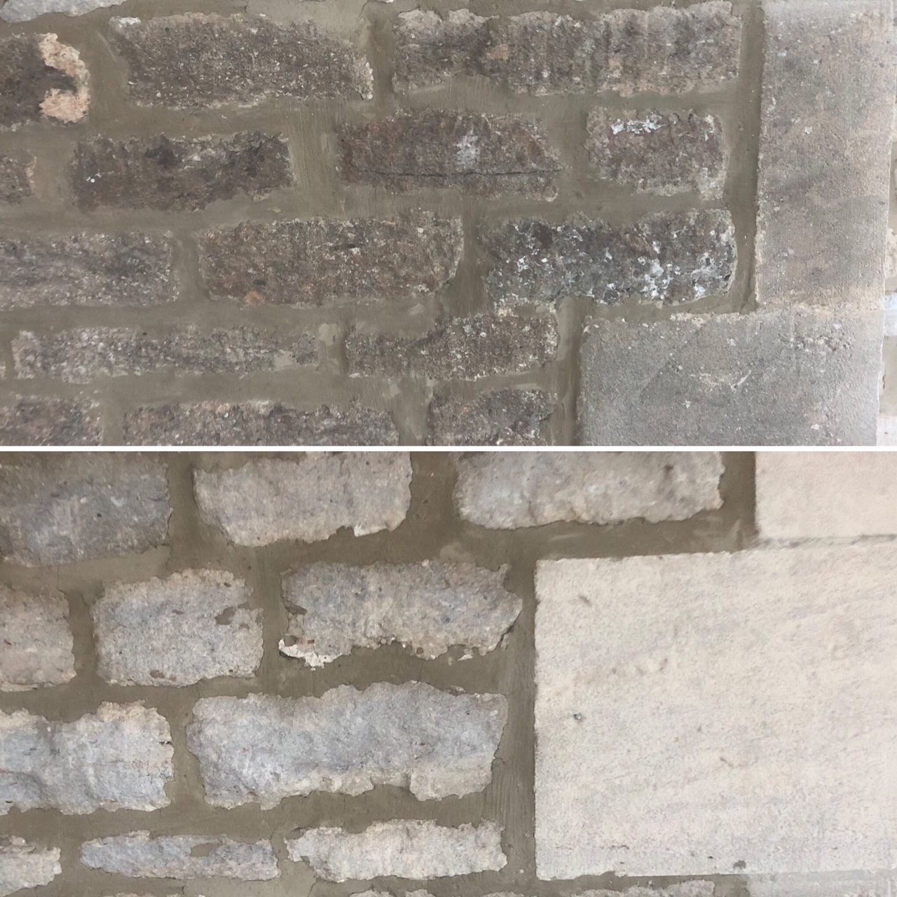 Sandblasting and cleaning old stone wall
