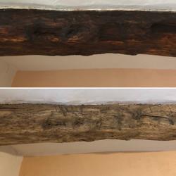 Sandblasted Elm beam to remove old paint