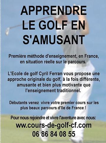 Stage et cours de golf Cyrl Ferra