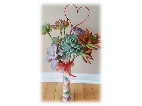 Succulent Rosette Bouquet in Vase (large)