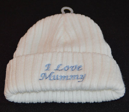 Baby Boys Knitted Hat - I Love Mummy in Sky Blue Embroidery 0 -3 months