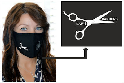 Personalised With Vinyl Logo or words Face Masks