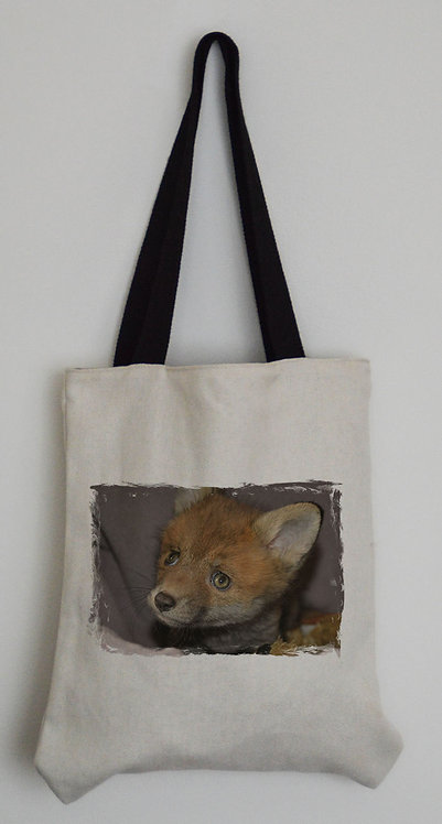 Canvas Effect Tote bag with black handles and a Red Fox Cub Photo