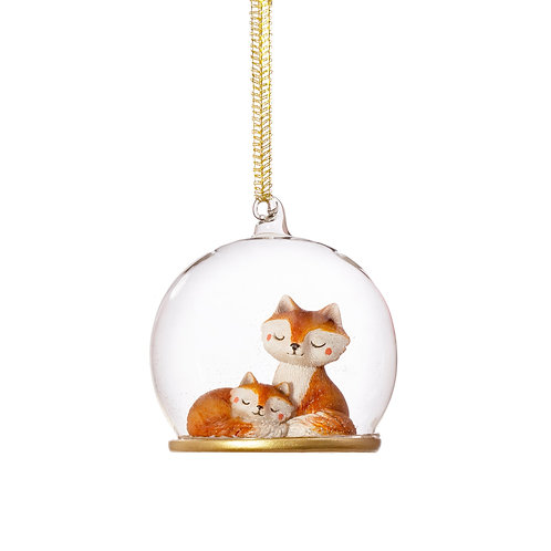 Mum & Baby Fox Cub Dome Christmas BAUBLE