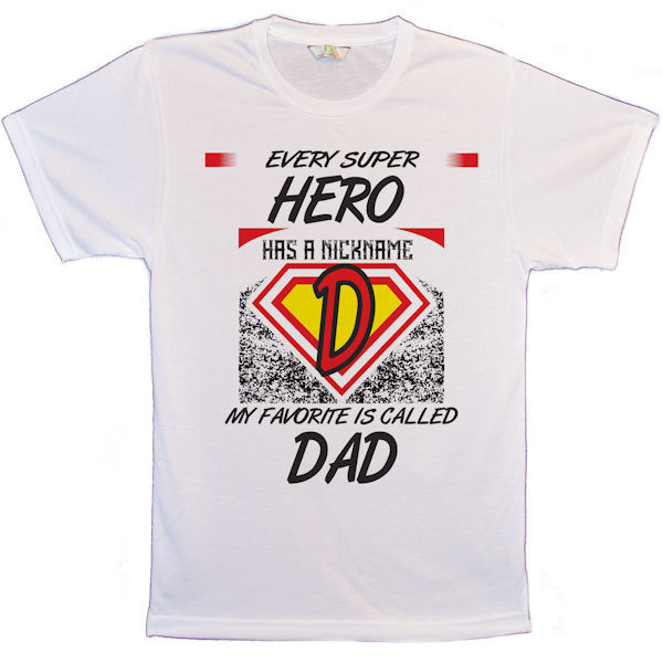 Every Super Hero has a nickname my favourite is called Dad T-Shirt: The Photo quality images just pop in this relaxed fit T-shirt. With set-in sleeves and a rib crew neck collar printed using a technique called Sublimation. Dye Sublimation printing is a process whereby full colour images, text and other graphics can be transferred onto a receptive item. The process relies on a specialised 'dye sublimation' ink, which when heated changes from being a solid dye to being a gas, without passing through a liquid stage. Taking this a step further, if this gas encounters polymer fibres as it moves, it will penetrate those fibres, permanently dyeing them. The effect is rather like that of tattooing. The surface of the substrate is smooth and the transfer print cannot be felt (unlike with a screen print), instead becoming part of the surface. This provides a totally durable result that will not fade or crack.