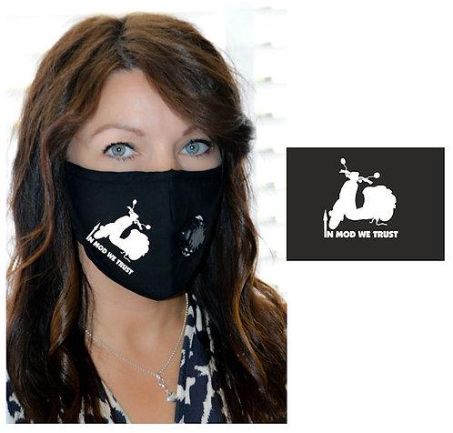 Vinyl Scooter, Mod, In Mod We Trust  Face Mask Gold, Pink or White Vinyl  Logo