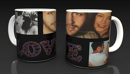 Valentine's Day Personalised Ceramic Mug design 6 using 3 of Your Photographs