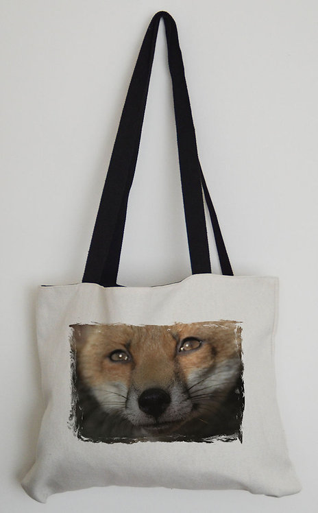 Canvas Effect Tote bag with black handles and a Red Adult Fox Photo