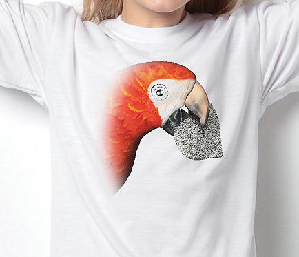Children's T-Shirts Red Parrot Love