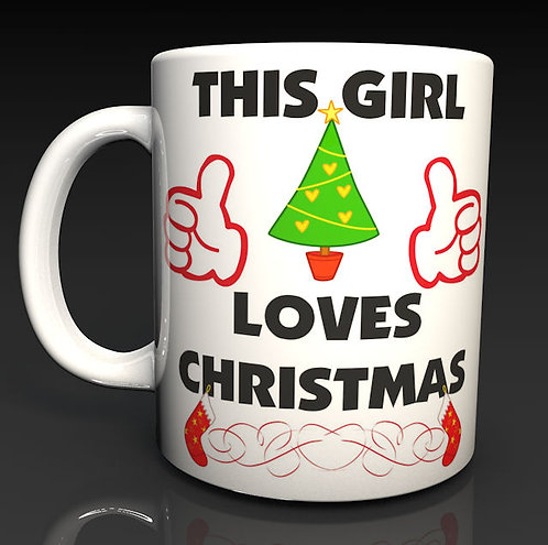 Personalised Christmas Mugs This Guy, This Girl Loves Christmas, 3 designs Xmas