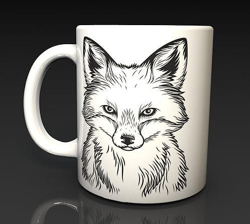 Red Fox Face Drawing Ceramic Dishwasher Safe Mug