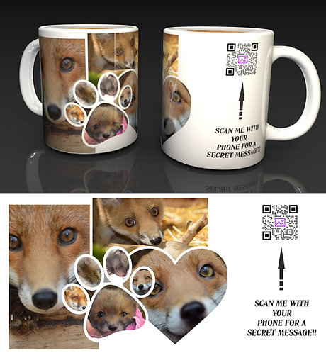Fox Collage Ceramic Mug with a Hidden QR Code Message
