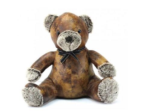 Faux Leather Teddy Bear Doorstop, Freestanding Teddy Bear
