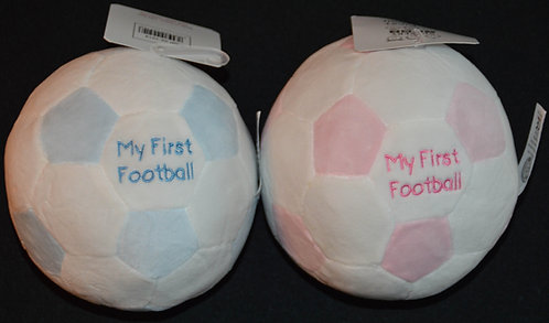 My First Football' Baby Soft Toy with Rattle - Choice of Pink or Blue