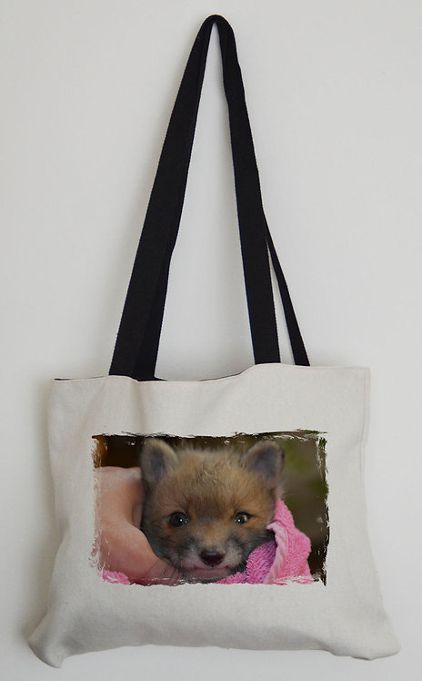 Canvas Effect Tote bag with black handles and a Daisy The Fox Photo