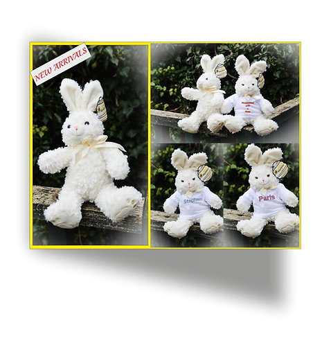 EMBROIDERED Mumbles Bunny Rabbit in personalised T-Shirt, any name, Plush gift