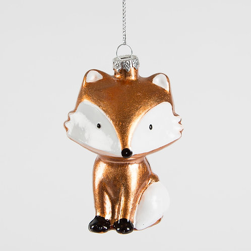 METALLIC FOX SHAPED Christmas BAUBLE