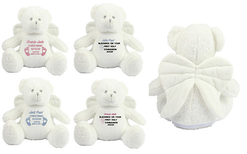 Personalised Angel Teddy Bear Holy Communion, Christening, Baptism Xmas Gift